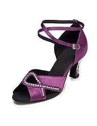 Minitoo Women's TH158 Kitten Low Heel Satin Wedding Ballroom Latin Taogo Dance Sandals