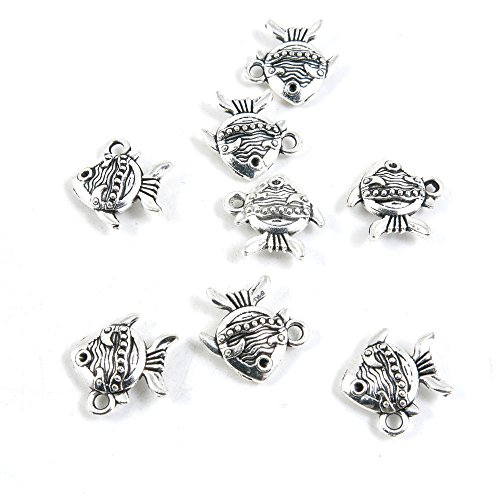 20 Pieces Antique Silver Tone Jewelry Making Charms Pendant Findings Craft Supplies Bulk Lots Arts Z1KU6 Tropical ()