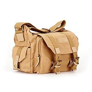Morrivoe SLR Camera Bag Waterproof Canvas Messenger Shoulder Case Bag with Shockproof Insert for Canon Nikon Sony Dslr SLR Camera (Camera Bag-Khaki))