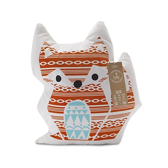 Lolli Living Woods Character Cushion - Fox - Premium 100% cotton canvas shell with cozy polyester fill Perfect gift idea Measures approximately 15 inches long - living-room-soft-furnishings, living-room, decorative-pillows - 51Q6X1CKNjL. SS570  -