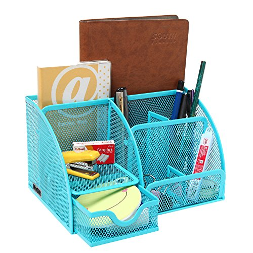 MyGift Multipurpose Turquoise Compartment Organizer