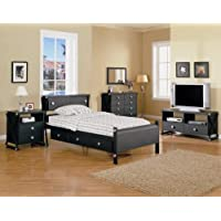 Black Matte Metal Youth 4PC Twin Size Bedroom Set