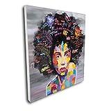 Pinetree Art African American Black Art Canvas Wall Art, Original Designed Pop Graffiti Style Canvas Painting on Print (32 x 32 inch, A Framed)