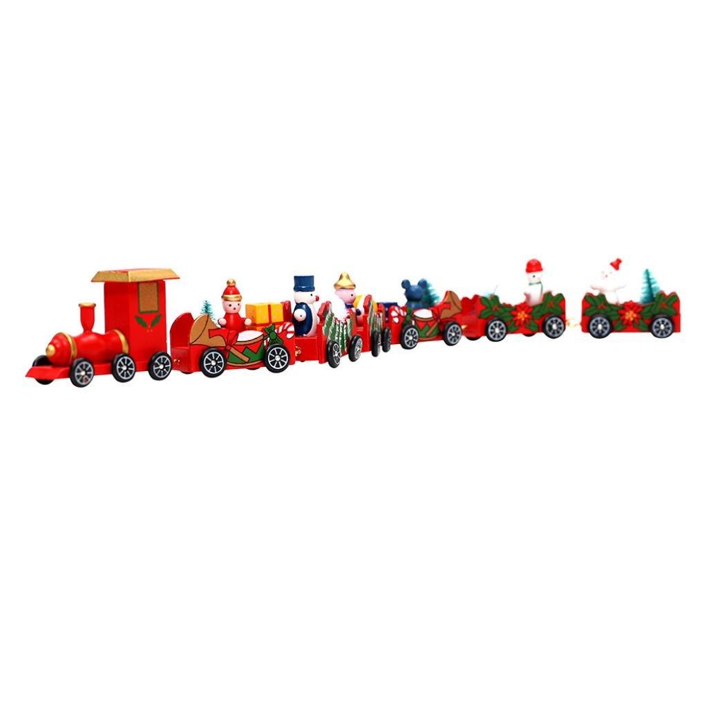 NXDA Christmas Decorations Christmas Woods Small Train Children Kindergarten Festive (B)