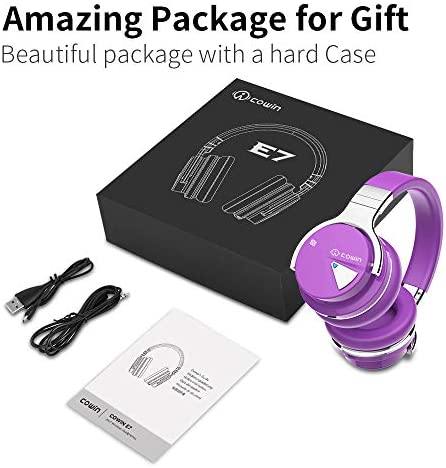 COWIN E7 Active Noise Cancelling Bluetooth Headphones with Microphone Deep Bass Wireless Headphones Over Ear, Comfortable Protein Earpads, 30H Playtime for Travel Work TV Computer Phone – Purple