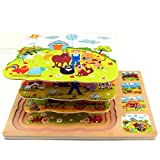 Educational Wood Puzzles with Wire Storage Rack Cocal Wooden Puzzle With Four Layers Cartoon Farm Puzzle Board Toy Educational Toy for Kids