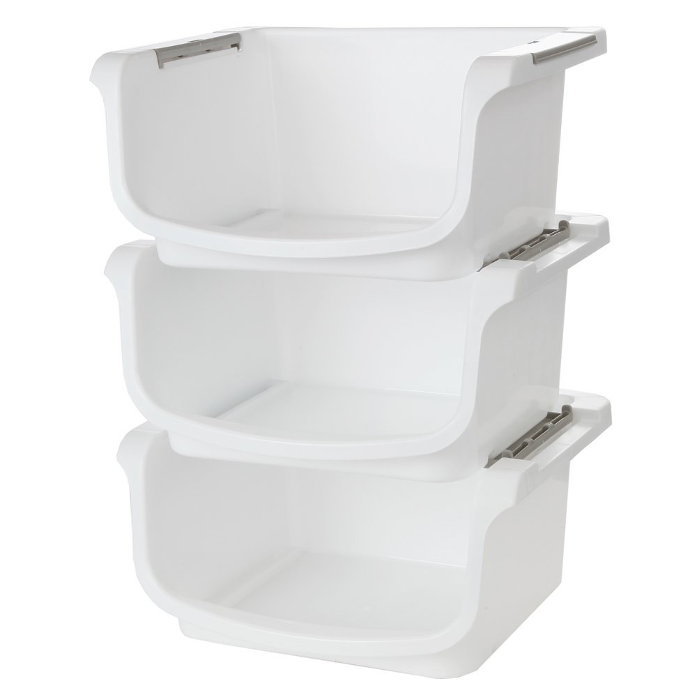 "Home-X - Small Nesting and Stackable Storage Bins, Set of 3 (Storage Area 10""L x 8""W x 5.75""H)"