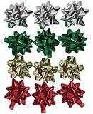 The Gift Wrap Company Mini Adhesive Bows, 12-Count, Metallic (0698)