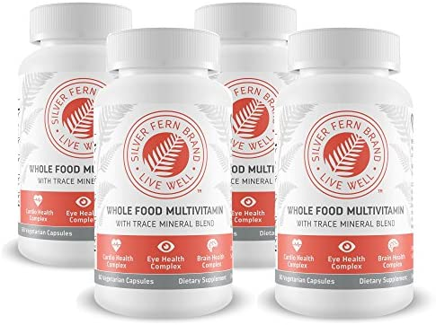 Silver Fern Whole Food Daily Multi Vitamin w Trace Mineral Blend Supplement – 4 Bottles – 60 Vegicaps Each – 120 Day Supply – Natural, Non-GMO, Vegan, Multivitamin for Man Woman – Zero Synthetics