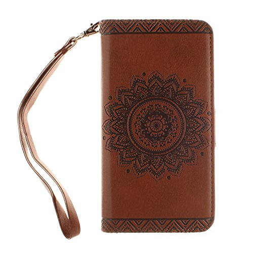 t Unique Strap/Rope Pressed Flower Pu Leather Magnetic Closure Flip Wallet Case Cover with Stand Compatible with Samsung Galaxy S7-Flower,Brown ()