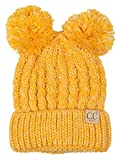 Funky Junque H-6023-50 Children's Double Pom Knit Beanie - Yellow