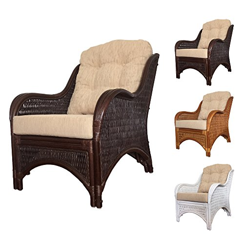 Rattan Lounge Armchair Karmen with Cushion (Dark - Karmen Brown
