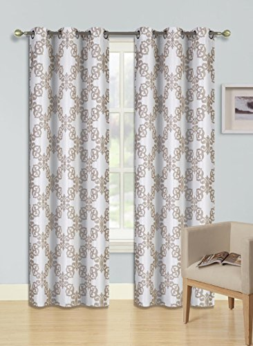 GorgeousHomeLinen (F'S) 1 Panel 2 Tone Printed Design Room Darkening Thermal Blackout Window Curtain 63″ or 84″ Long, 3 Different Designs (84″ Length, Reta-Ivory)
