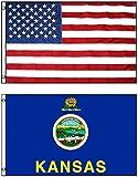 3'x5′ KANSAS Polyester Flag & AMERICAN US Embroidered Nylon Flag