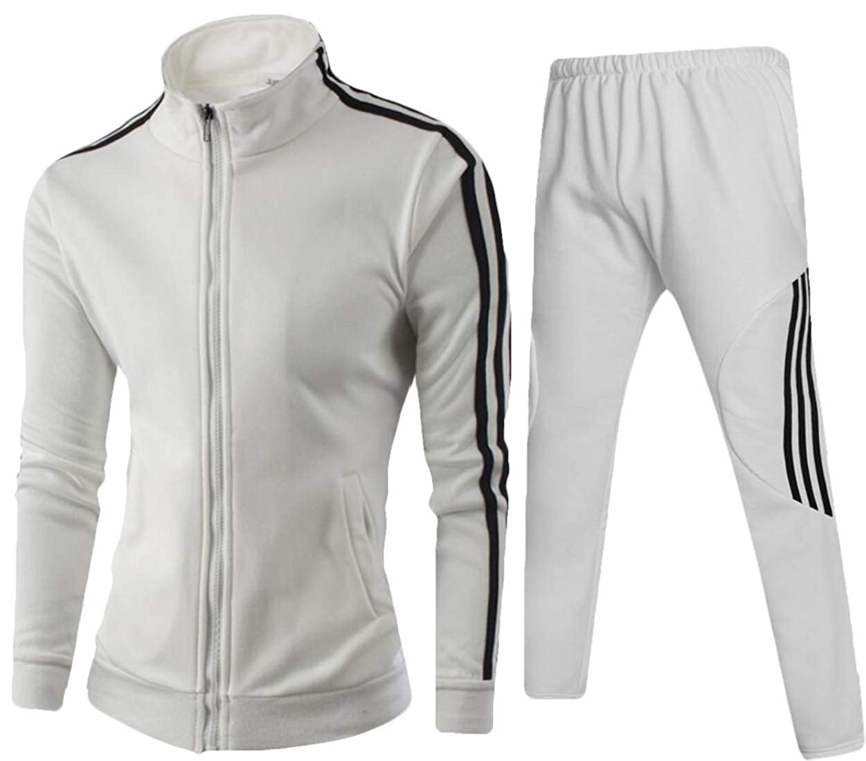 Fubotevic Men Zipper Striped Jacket 2 Pieces Sport Pants Tracksuit Outfit Set