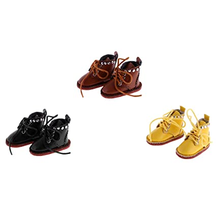 ec56b7999929a Amazon.com: MagiDeal 3 Pairs of Cute PU Leather Lace Up Boots Shoes ...