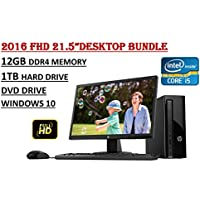 2016 Edition - HP Slimline 260 FHD Desktop Bundle - 6th Gen. Intel i5-6400T Quad Core Processor - 12GB DDR4 2133MHz RAM - 1TB 7200RPM HDD - HP 22UH Full HD Monitor - WiFi- Windows 10