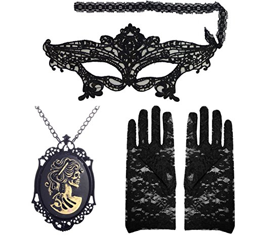 Black Gothic Skull Corpse Bride Cameo Pendant Necklace Lace Gloves Venetian (Skull Bride Mask With Hair)