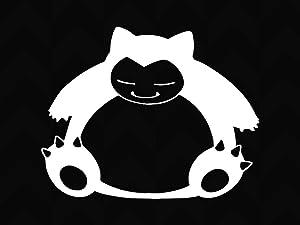 -Snorlax Lazy bear Decal, Snorlax Sticker, Vinyl Decal, Vinyl Sticker, Car, | Car Decal, Car Stickers, Window decal,wall sticker/ Decal Sticker Car Truck Window Die Cut Vinyl (15x11 cm)white (white)