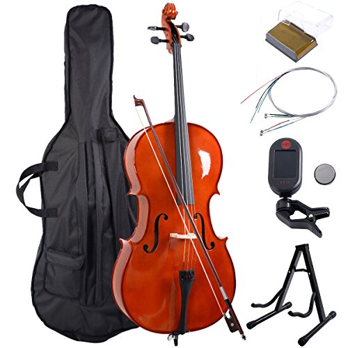 Goplus Wood 4/4 Full Size Acoustic Cello with Soft Case, Stand, Bow, Rosin, Bridge and Extra Set of Strings by Goplus