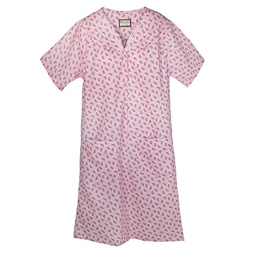 Ten West Apparel Women's Short Sleeve Duster Robe, Medium, Pink Pattern