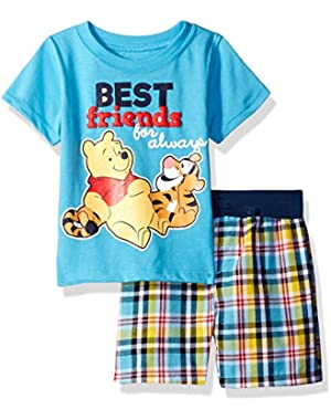 Disney Baby Boys' 2 Piece Winnie the Pooh Plaid Short Set
