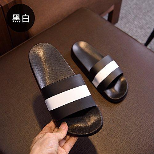DogHaccd Zapatillas,Baño interior de verano Zapatillas casa par estancia macho, desgaste antideslizante cool verano zapatillas de baño Blanco y negro3