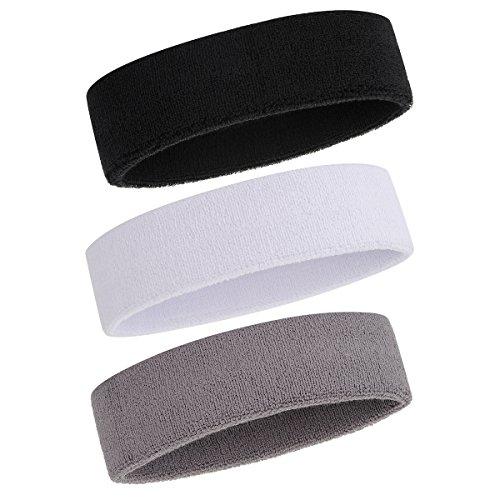 OnUpgo Sweatband Headband/Wristband for Men & Women - 3PCS/6PCS/12PCS Sports Headbands Moisture Wicking Athletic Cotton Terry Cloth Wristbands Head Band (3 Headbands - Black/Grey/White)