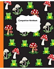 Mushrooms Composition Notebook: Wide Ruled Lined Paper Notebook Journal   Cute Cartoon Mushrooms and Green Frog style Workbook for Girls Kids Teens Students for Back to School and Home College   120 pages