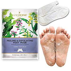 LuxaDerme Peeling and Exfoliating Foot Mask with Sea Kelp, Thyme and Brassica Campestris, 40ml
