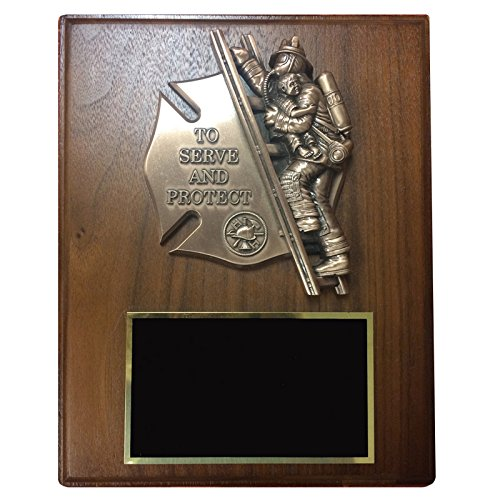 Firefighter Award Plaques (Customizable 8 x 10 Inch Walnut Veneer Plaque with Brass Firefighter and Child, includes Personalization)