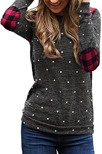 Umeko Womens Tops Long Sleeve Elbow Patches Plaid Pullover Sweater Polka Dot...