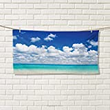 Chaneyhouse Ocean,Sports Ttowel,Paradise Beach and Tropical Hawaiian Exotic Sky Color with Clouds Scenery,Absorbent Towel,Turquoise Azure White Size: W 12'' x L 35.5''