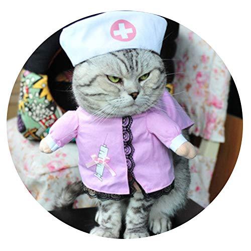 Funny pet catclothing Police cat Clothes Cool Suit Uniform with hat Suit Nurse Supplies for Pets,Nurse,2 ()