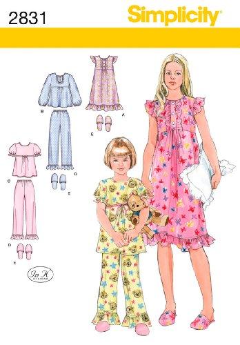 Simplicity Sewing Pattern 2831 Child/Girl Sleepwear, K5 (7-8-10-12-14)