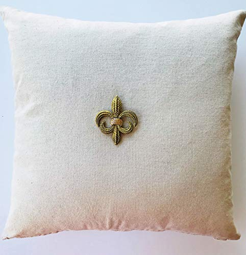 Evelyn Hope Collection Tan Linen French Fleur di Lis Pillow with Removable Gold Necklace-pin-French Pillow,Linen Pillow,Gold Pillow,Paris Pillow
