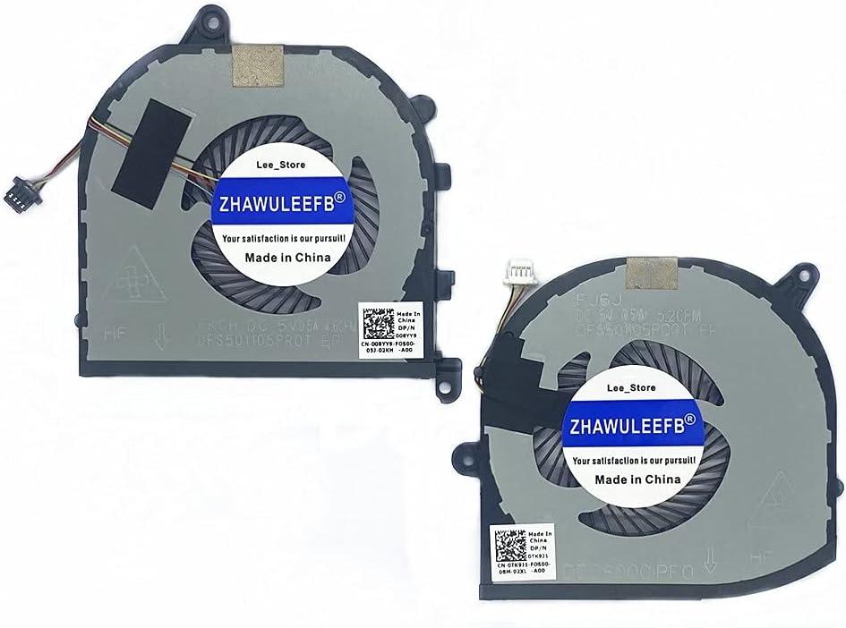 Lee_store CPU and GPU Cooling Fan for Dell XPS 15 9570 XPS15-9570 Series Laptop DFS501105PR0T FKCH 008YY9 0TK9J1 TK9J1 08YY9