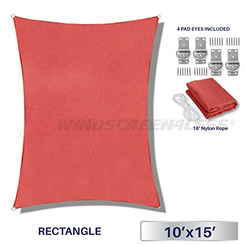 Sun Shade Sail Rust Red 10' x 15' Rectangle Patio Permeable Fabric UV Block Perfect for Outdoor Patio Backyard - Customize Available (Rectangular Curved)
