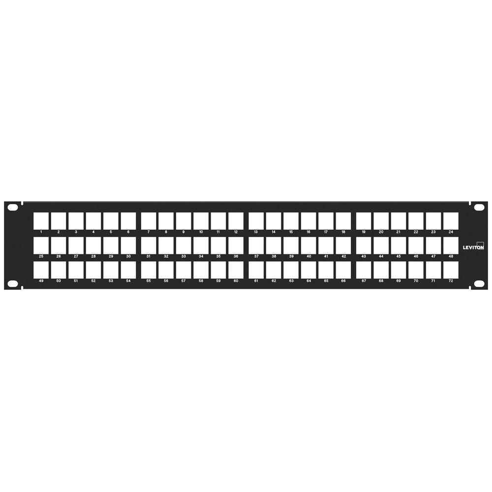 Leviton 49255-D72 QuickPort Patch Panel, 72-Port, 2RU, Cable Management Bar Included