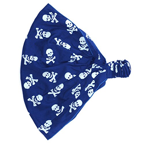 CHARM Casualbox | Kids 100% Cotton Headband Bandana Hat Pirate Skull Crossbones Cute Dress Up Costume Dress-up Fun Party Blue -