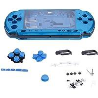 ASHATA Carcasa para PSP 3000,Reemplazo de Funda Protectora para Consola de Juegos de Mano,Antideslizante, Antiarañazos.(Azul)