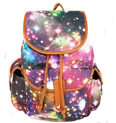 Top Shop Women's Print Canvas Pu Leather Drawstring Bucket Bag School Backpack Multi-3 Travel bag (Argos Sets Bedding Christmas)