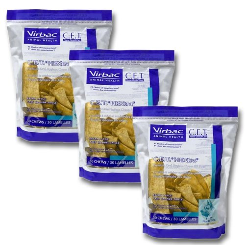 C.E.T. HEXtra Premium Oral Hygiene Chews (with Chlorhexidine) for Extra Large Dogs (51+ Pounds) 3 Pack (90 chews)