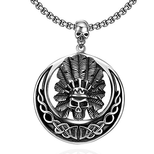 [SDLM Mens Fashion Titanium Steel Crazy Indian Skull Gothic Vintage Round Pendant Necklace] (Bollywood Costumes For Men)