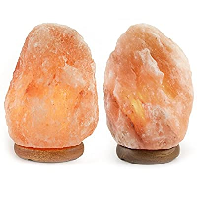 Crystal Allies Gallery: Pack of 2 Natural Himalayan Salt Lamp on Wood Base with Cord, Light Bulb & Authentic Crystal Allies Info Card