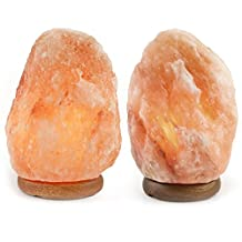 "Pack of 2 Natural 6"" to 8"" Himalayan Salt Lamp on Wood Base with Cord, Light Bulb & Authentic Crystal Allies Info Card"