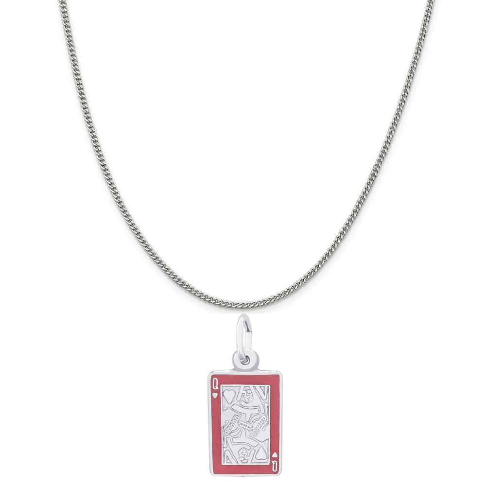 Rembrandt Charms Sterling Silver Red Enamel Queen of Hearts Charm on a 16 18 or 20 inch Rope Box or Curb Chain Necklace