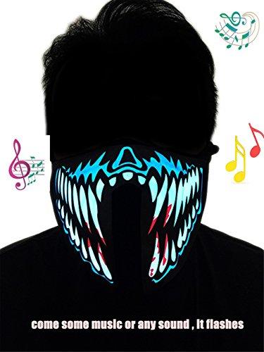 Ponce Fashion Halloween Masquerade Flashing Costume Mask LED Music Party Mask