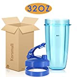 Replacement Accessories for Nutribullet 600W 900W, 32oz Colossal Cup + Blue Flip Top to Go Lid + Blue Lip Ring