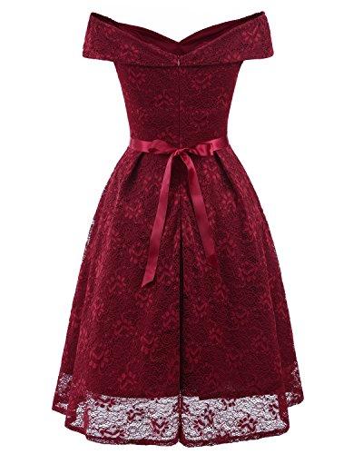 Vestidos Verano Mujer Elegante Retro Moda Vestido Rockabilly Fiesta Para Bodas Noche 1950S Vestir Años 50 Cortos Color Sólido Cuello Barco Encaje Plisadas ...